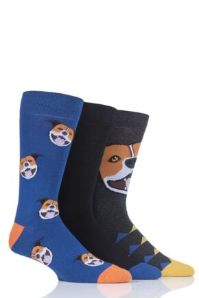 Mens 3 Pair SockShop Wild Feet Staffy Novelty Cotton Socks