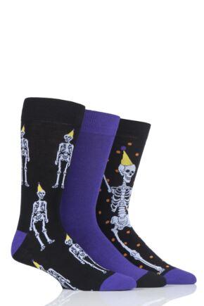 Mens 3 Pair SockShop Wild Feet Disco Skeleton Novelty Cotton Socks