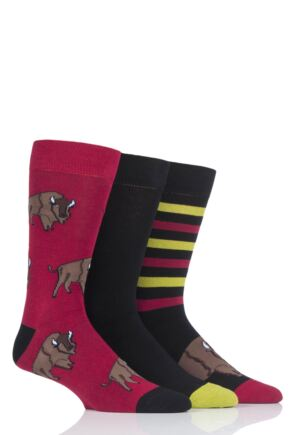 Mens 3 Pair SOCKSHOP Wild Feet Bison Novelty Cotton Socks
