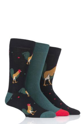 Mens 3 Pair SOCKSHOP Wild Feet Rooster Novelty Cotton Socks