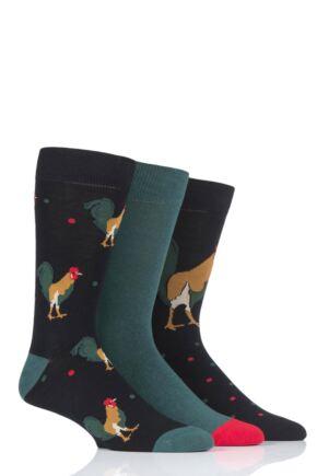 Mens 3 Pair SockShop Wild Feet Rooster Novelty Cotton Socks