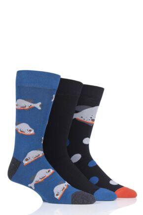 Mens 3 Pair SockShop Wild Feet Piranha Novelty Cotton Socks