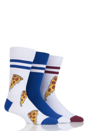 Mens 3 Pair SockShop Wild Feet Pizza Cotton Socks