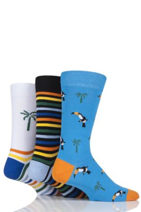 Mens 3 Pair SockShop Wild Feet Toucan Cotton Socks