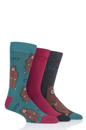 Mens 3 Pair SockShop Wild Feet Unbearable Novelty Cotton Socks