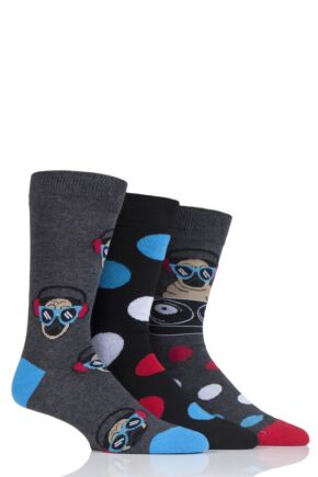 Mens 3 Pair SockShop Wild Feet Pug DJ Cotton Socks