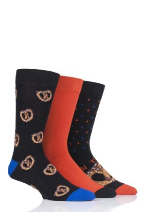 Mens 3 Pair SockShop Wild Feet Can You Knot Novelty Cotton Socks