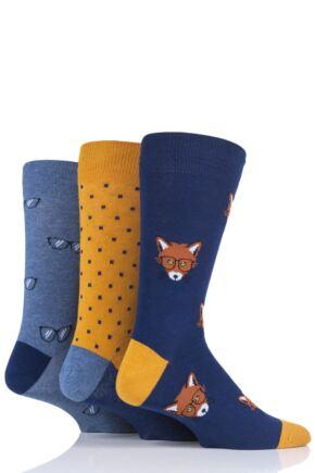 Mens 3 Pair SockShop Wild Feet Fox Cotton Socks