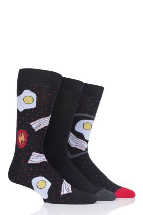 Mens 3 Pair SockShop Wild Feet Fry-Up Novelty Cotton Socks