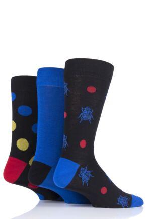Mens 3 Pair SockShop Wild Feet Beetle Cotton Socks