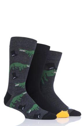 Mens 3 Pair SockShop Wild Feet Crocodile Cotton Socks