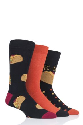 Mens 3 Pair SOCKSHOP Wild Feet Spec-Taco-Lar Socks