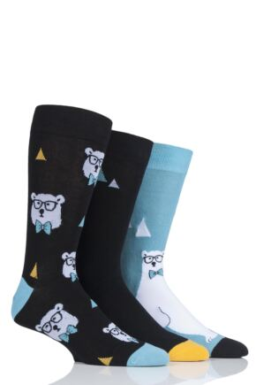 Mens 3 Pair SockShop Wild Feet Polar Bear Cotton Socks