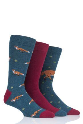 Mens 3 Pair SockShop Wild Feet Fox Bow Tie Cotton Socks