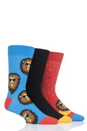 Mens 3 Pair SOCKSHOP Wild Feet Chilling Lion Socks