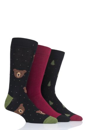 Mens 3 Pair SockShop Wild Feet Grizzly Bear Cotton Socks