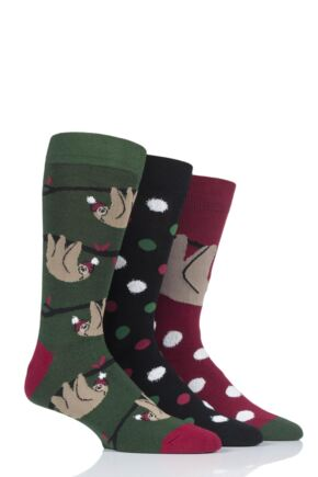 Mens 3 Pair SockShop Wild Feet Sloth Cotton Socks