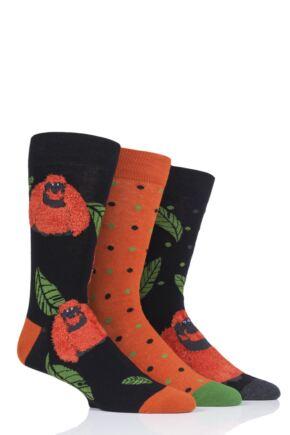 Mens 3 Pair SOCKSHOP Wild Feet Orangutan Socks
