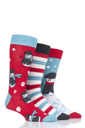 Mens 3 Pair SockShop Wild Feet Snowman Cotton Socks