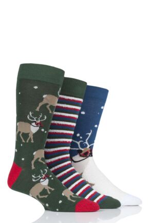 Mens 3 Pair SockShop Wild Feet Reindeer Cotton Socks