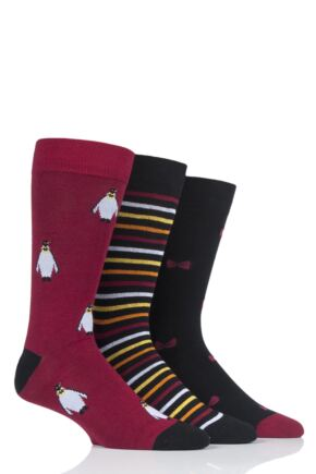 Mens 3 Pair SockShop Wild Feet Penguin Cotton Socks