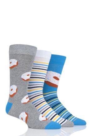 Mens 3 Pair SOCKSHOP Wild Feet Doughnut Socks