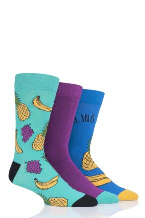 Mens 3 Pair SOCKSHOP Wild Feet Fruity Socks