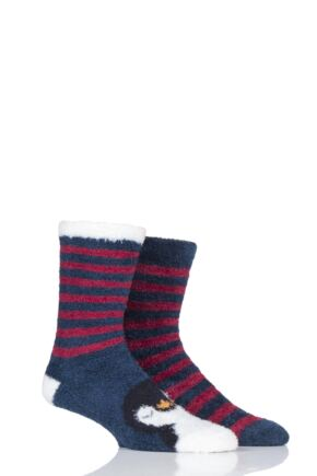 Mens 2 Pair SockShop Wild Feet Winter Themed Fluffy Bed Socks