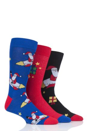 Mens 3 Pair SockShop Wild Feet Santa Rocket Cotton Socks