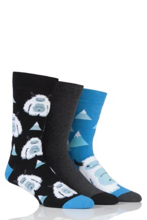Men's 3 Pair SockShop Wild Feet Patterned Socks