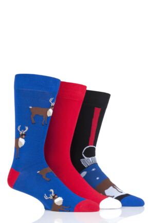 Mens 3 Pair SOCKSHOP Wild Feet Rudolph Bauble Christmas Novelty Cotton Socks