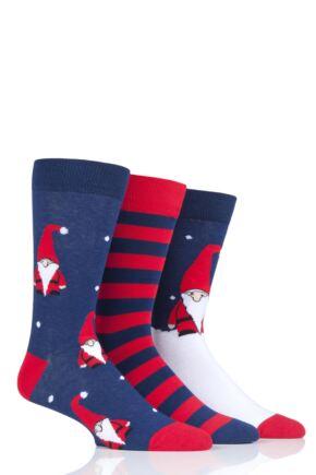 Mens 3 Pair SOCKSHOP Wild Feet Gnome Santa Christmas Novelty Cotton Socks