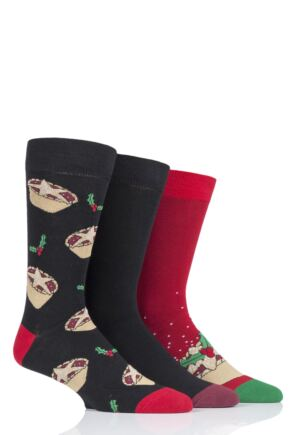 Mens 3 Pair SOCKSHOP Wild Feet Mince Pies Christmas Novelty Cotton Socks