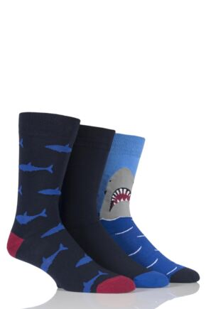 Mens 3 Pair SockShop Just For Fun Shark Novelty Cotton Socks