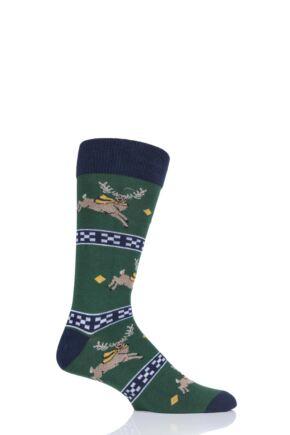Mens 1 Pair SockShop Wild Feet Stag Christmas Jumper Gift Bag Socks Green 7-11 Mens