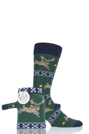 Mens 1 Pair SockShop Wild Feet Stag Christmas Jumper Gift Bag Socks Green 7-11 Mens