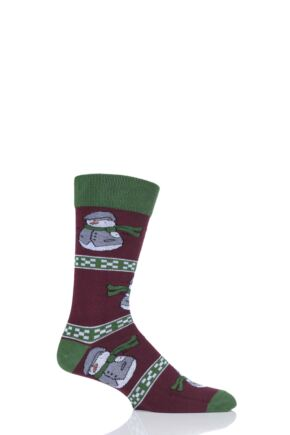 Mens 1 Pair SockShop Wild Feet Santa Snowman Christmas Jumper Gift Bag Socks Burgundy 7-11 Mens