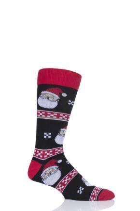 Mens 1 Pair SockShop Wild Feet Santa Glasses Christmas Jumper Gift Bag Socks Black 7-11 Mens