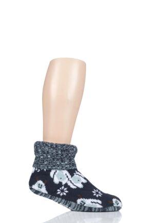 Mens 1 Pair SockShop Wild Feet Yeti Knitted Fleece Lined Bootie Slippers