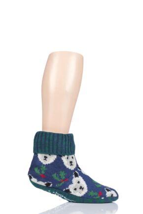 Mens 1 Pair SockShop Wild Feet Polar Bear Knitted Fleece Lined Bootie Slippers