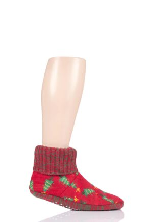 Mens 1 Pair SockShop Wild Feet Christmas Themed Knitted Bootie Slippers Trees 7-11 Mens
