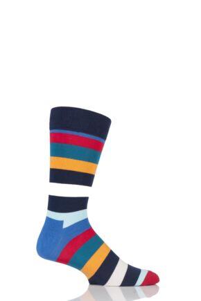 Mens and Ladies 1 Pair Happy Socks Stripe Combed Cotton Socks