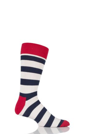 Mens and Ladies 1 Pair Happy Socks Stripe Combed Cotton Socks Red 7.5-11.5 Unisex