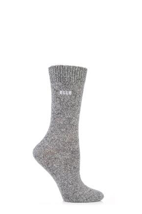 Ladies 1 Pair Elle Tweed Style Boot Socks Grey