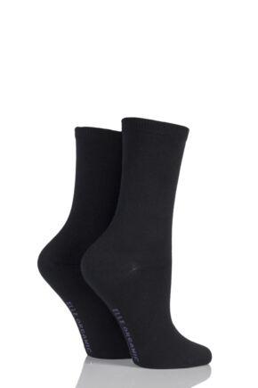 Ladies 2 Pair Elle Organic Cotton Socks Black