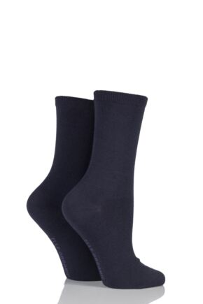Ladies 2 Pair Elle Organic Cotton Socks Charcoal