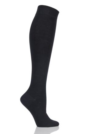 Ladies 1 Pair Elle Organic Cotton Knee High Socks Black