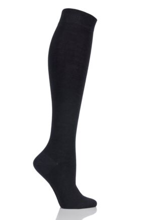 Girls and Boys 1 Pair SOCKSHOP Plain Bamboo Knee High Socks with Comfort Cuff and Smooth Toe Seams Black 9-12 Kids