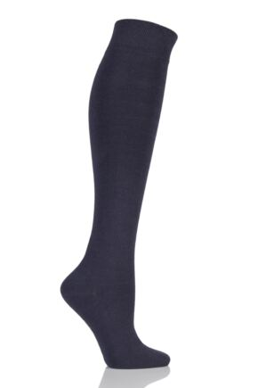 Ladies 1 Pair Elle Organic Cotton Knee High Socks Charcoal