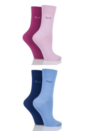 Ladies 4 Pair Elle Bamboo Fibre Socks